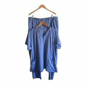 Cathcart scrub top & pant set light blue size 2X